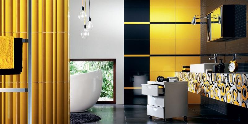 Топдом - жълти плочки за баня, въздействие